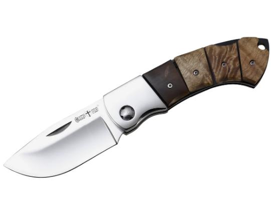 """Нож складной охотничий для разделки тушек.""""Носорог-1"""". Рукоять - кап березы."""