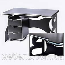 Компьютерный стол  с тумбой Barsky HG-06/LED/CUP-06/ПК-01 Game White, ученическая станция, фото 2