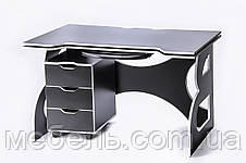Компьютерный стол  с тумбой Barsky HG-06/LED/CUP-06/ПК-01 Game White, ученическая станция, фото 3