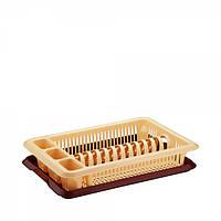 Сушка для тарелок одноярусная Elif Бежево-коричневая