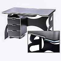 Мебель для ребенка/школьника/подростка стол с тумбой Barsky Game WHITE LED  HG-06/CUP-06/ПК-01