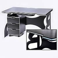 Мебель для работы дома стол для учебных заведений с тумбой Barsky Game WHITE LED  HG-06/CUP-06/ПК-01
