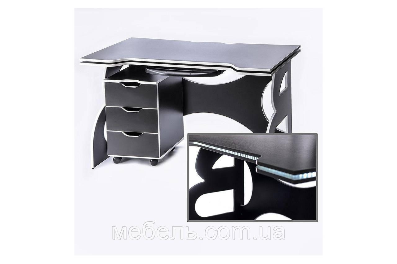 Офисные столы офисный стол с мобильной тумбой barsky game led white hg-06/led/cup-06