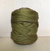 Толстая пряжа из шерсти мериноса зеленый 21 микрон 100% шерсть цвет оливковый