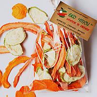 Овочеві чіпси з гарбуза-17, кабачків-17 і моркви-16, суміш 50 грам, фото 1