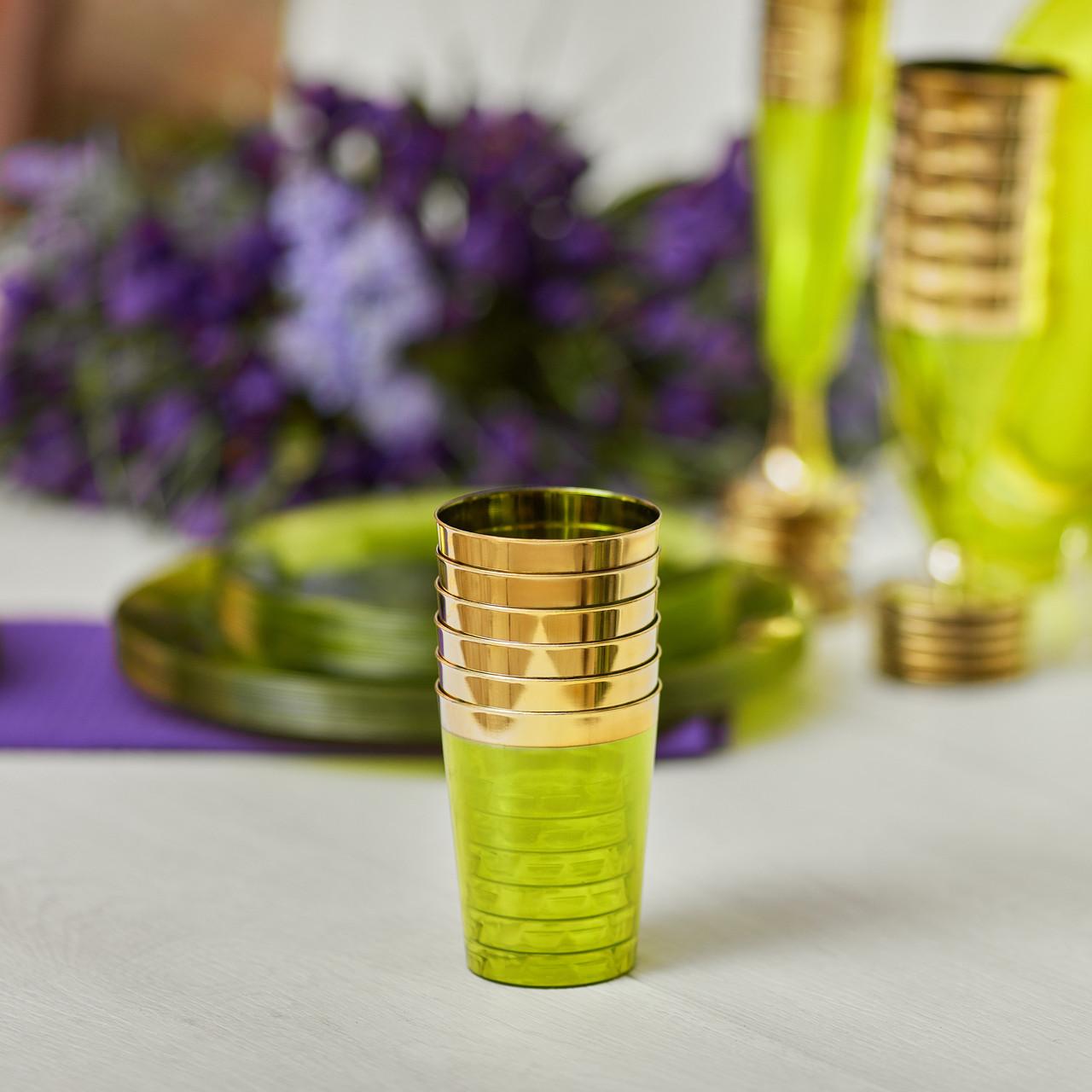 Стаканы одноразовые 6 шт 220 мл оптом от производителя плотные для ресторанов, кейтеринга  CFP зеленые.