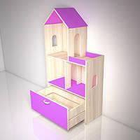 Стеллаж «Мечта мини» с ящиком Design Service (В*Ш*Г) 1250*650*300 мм ольха/розовый