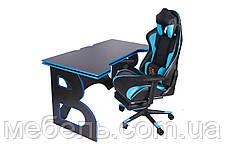 Компьютерные столы компьютерный геймерская станция barsky homework game blue/black hg-04/sd-19, фото 3