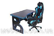 Компьютерные столы игровая станция barsky homework game blue/black hg-04/sd-19, фото 3