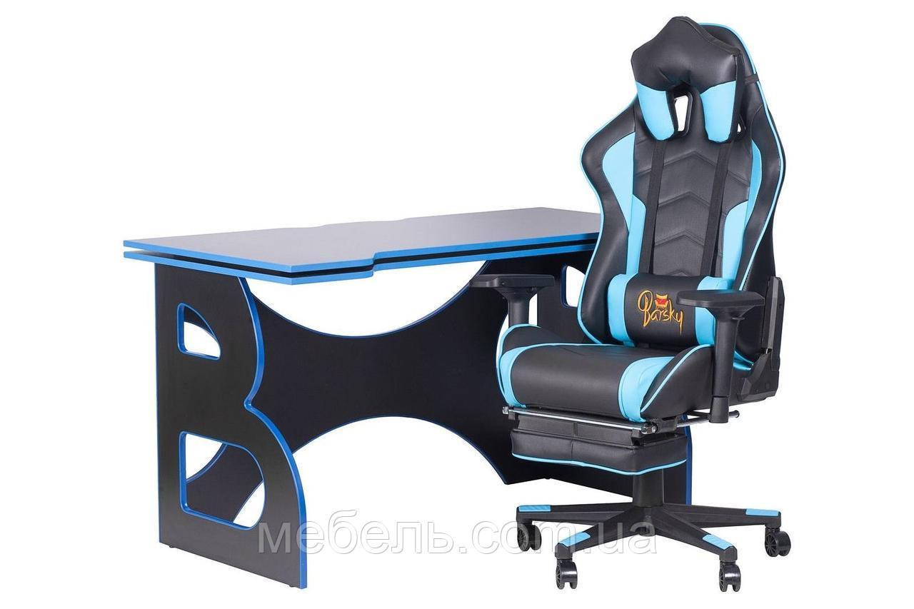 Комфортное компьютерное кресло и стол Barsky Homework Game Blue/Black HG-04/SD-19