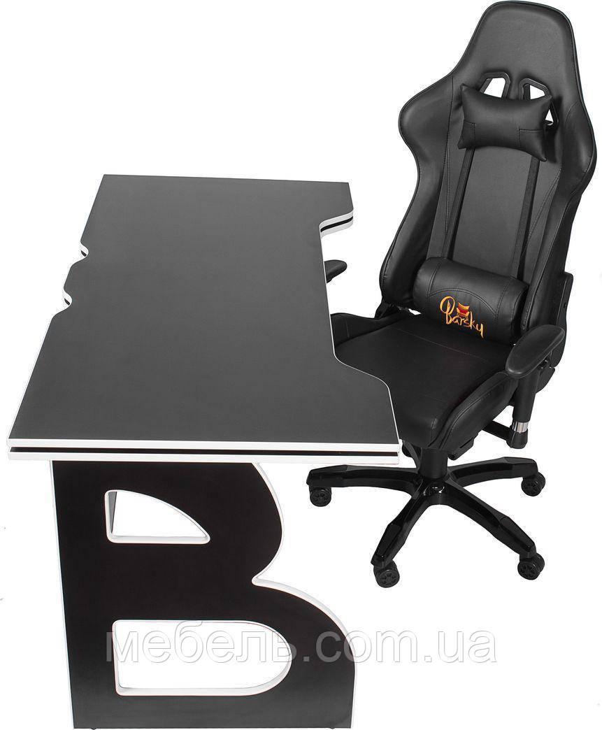 Комфортное компьютерное кресло и стол Barsky Homework Game Black/White HG-06/SD-09