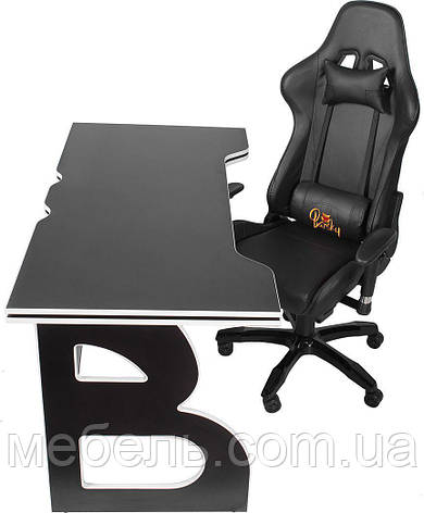 Комфортное компьютерное кресло и стол Barsky Homework Game Black/White HG-06/SD-09, фото 2