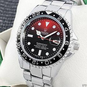 Часы Мужские Rolex Silver-Red-Black/браслет, серебро/Чоловічий годинник/ Часы Ролекс/реплика