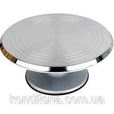 Вращающийся столик для торта металлический на подшипнике серебро