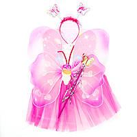 Карнавальный костюм БАБОЧКА, розвый - юбочка, крылья, тиара, волшебная палочка (513566-2)
