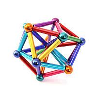 Магнитный конструктор Разноцветный Zoyo 45 деталей из магнитных цилиндров и металлических шариков