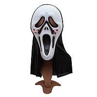 """Карнавальная маска из фильма """"Крик"""", 18*62 см, полиэстер, белый.)"""