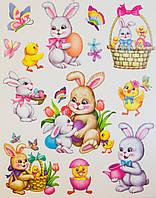 Лист с декоративными пасхальными наклейками на окно, зайцы, 30*42 см (070281)