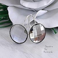 Серьги серебряные с оригинальными кристаллами Сваровски