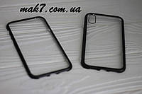 Магнитный Чехол для  Iphone X/XS Magnetic case стекляный в комплекте со стеклом чорный