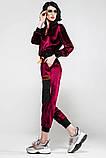 Велюровый спортивный молодежный костюм размеры: S/M, L/X Lцвет малиновый, фото 4