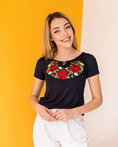 Черная футболка вышиванка Маки