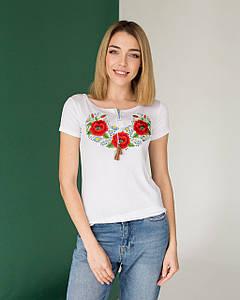 Белая футболка вышиванка Маки