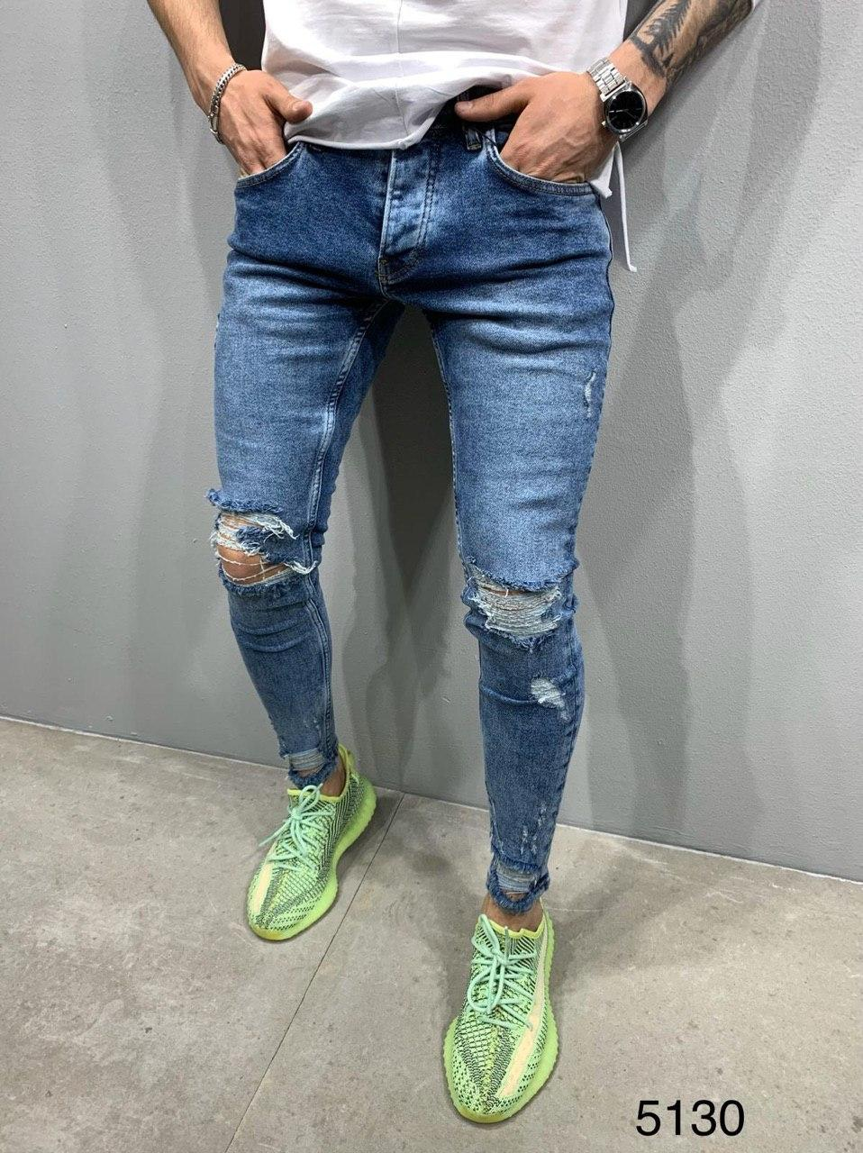 Мужские джинсы рваные синие 2Y Premium 5130