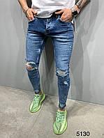 Мужские джинсы рваные синие 2Y Premium 5130, фото 1