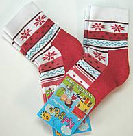 Теплые детские носки с махровым следом красный