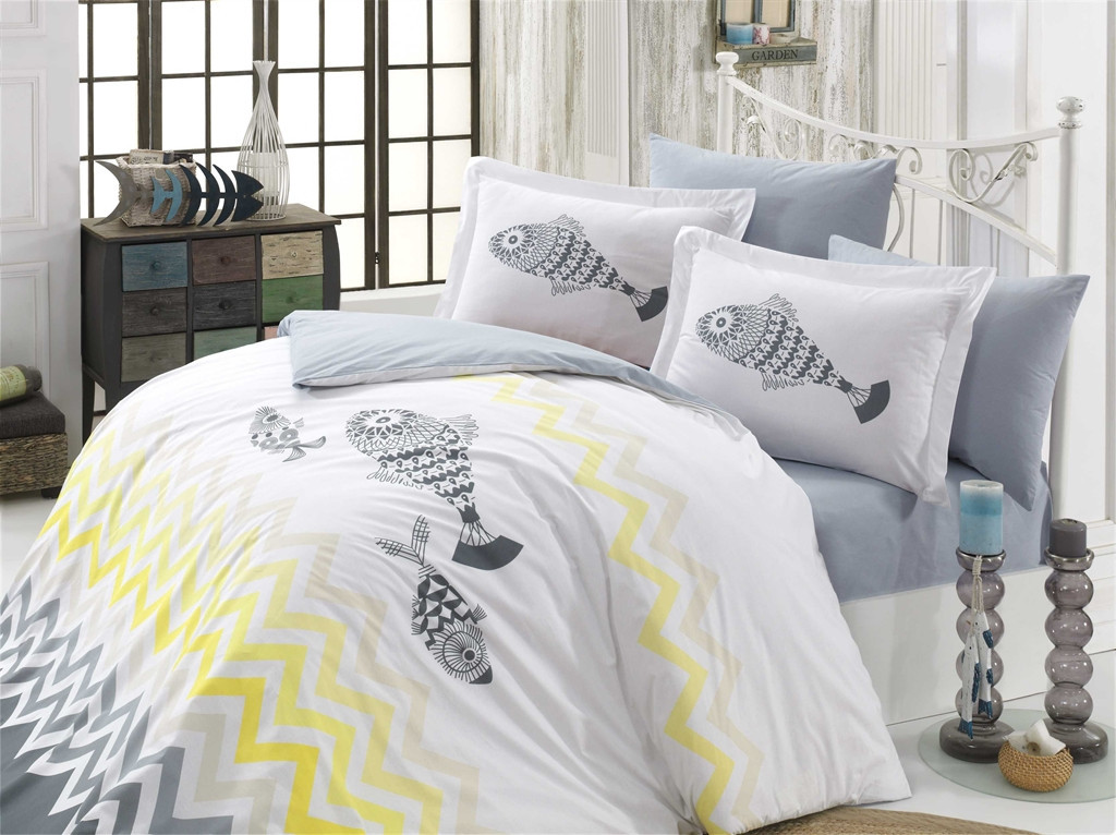 """Постельное белье Hobby """"Ocean"""", серый/желтый, поплин, двуспальный евро"""