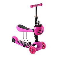 Самокат трехколесный Scooter 17-1 для детей от 1 года с корзинкой сидением и светящимися PU колесами