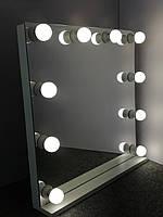 Безрамное гримерное зеркало 70 х 70 ( Безрамочное зеркало с лампами ) ( Макияжное зеркало визажиста)
