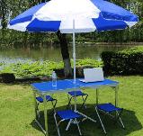 Стол туристический складной, для пикника, для рыбалки 4 стула 120*60*70 Синий Folding Table, фото 3
