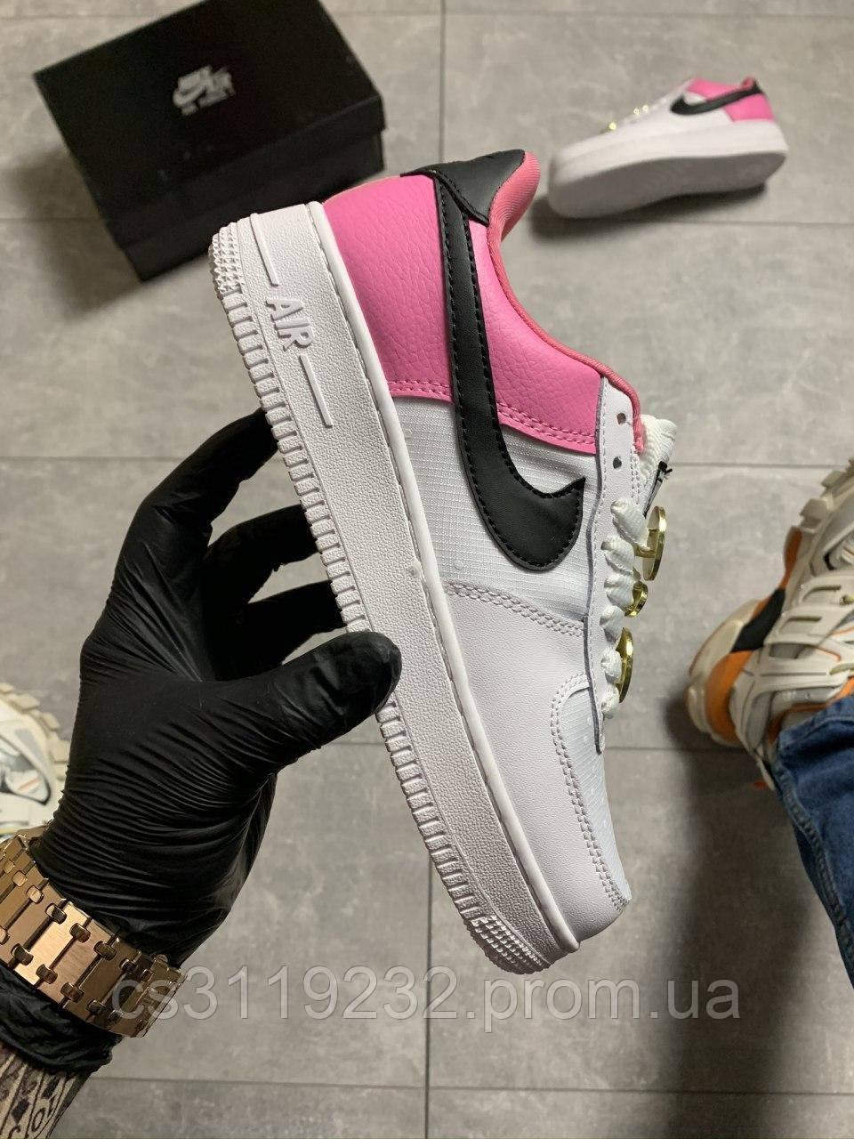 Женские кроссовки Nike Air Force Low Pink White (розово-белые)
