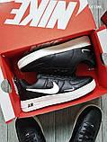 Мужские весенние кожанные кроссовки черно/белые Nike Air Force 1 LV8, фото 4