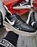 Мужские весенние кожанные кроссовки черно/белые Nike Air Force 1 LV8, фото 5