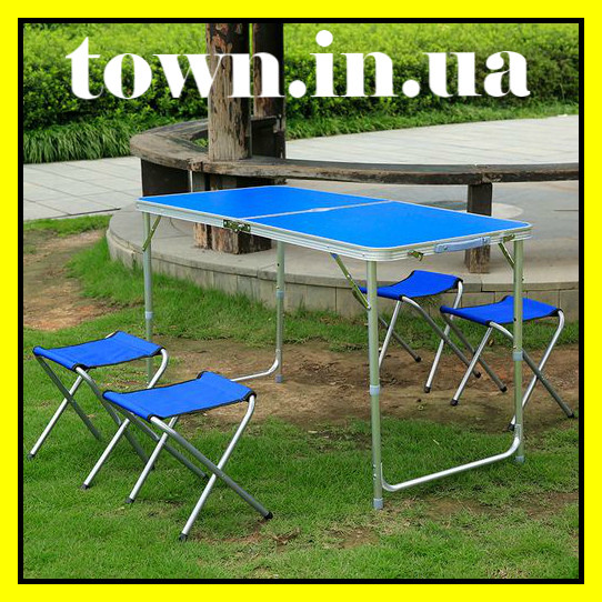 Стол туристический складной, для пикника, для рыбалки 4 стула 120*60*70 Синий Folding Table