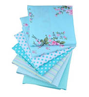 Набор небольших отрезов ткани для рукоделия бирюзового цвета - 7 отрезов 20*25 см