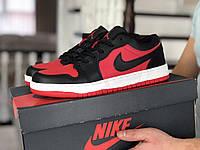 Кроссовки Весна Мужские Красные с Черным в стиле Nike Air Jordan 1 Low