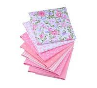 Набор небольших отрезов ткани для рукоделия розового цвета - 7 отрезов 20*25 см
