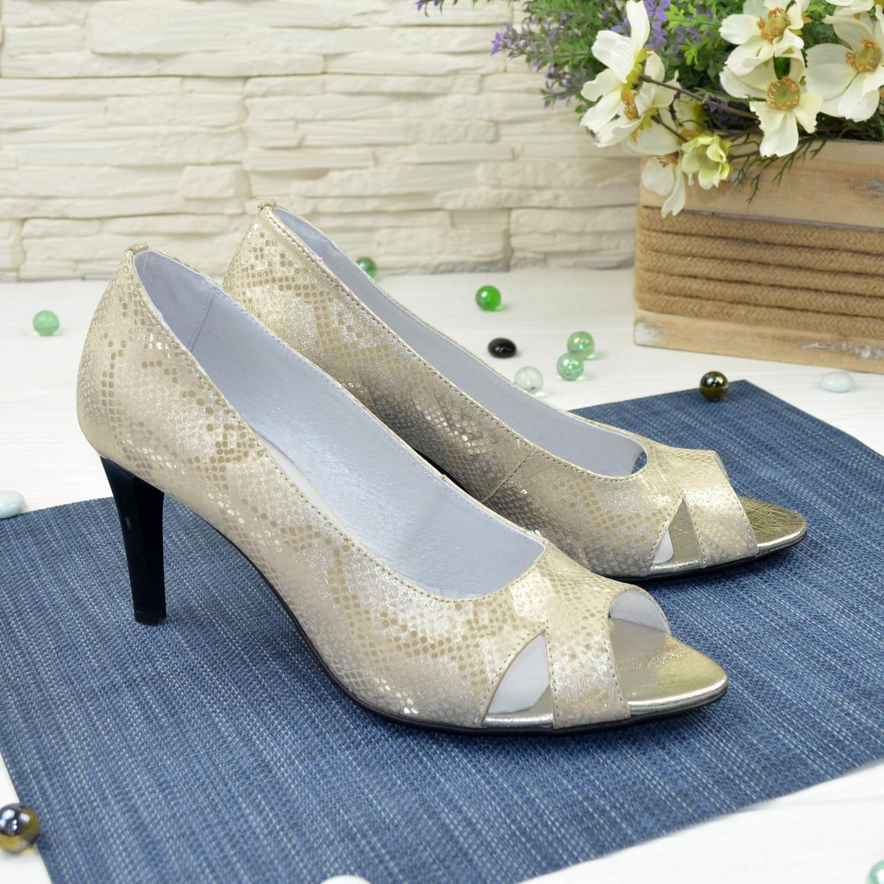 Туфли женские с открытым носком, натуральная кожа питон цвета золото