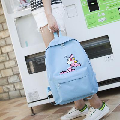 Рюкзак женский голубой с розовой пантерой