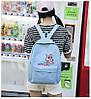 Рюкзак женский голубой с розовой пантерой, фото 3