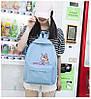Рюкзак женский голубой с розовой пантерой, фото 5