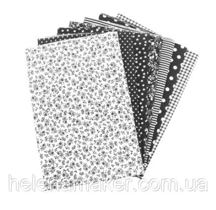Черный набор ситца для рукоделия - 7 отрезов 25*25 см