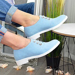 Туфли женские голубые замшевые на шнуровке