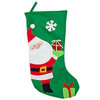 Новогодний сувенир - носок из полиэстера с рождественским дизайном Дед Мороз, 48 см (000852-1)