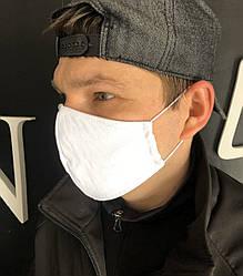 Захисна маска тришарова тканинна з лєна