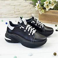 Кроссовки женские кожаные на спортивной черной подошве